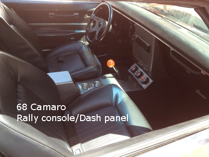 68 camaro rally pro touring console with dash bezel